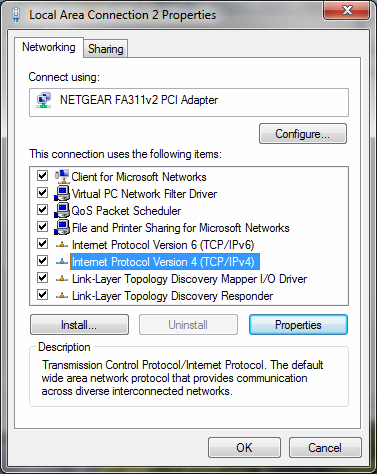Double-click the second NIC (Local Area Connection 2) to display its Status dialog; click the Properties button. Displays this dialog. 3.