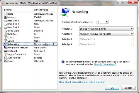 Tech Tip 7 Page 5 of 11 3. Right-click on Windows XP Mode and select Settings. a. Highlight Networking.