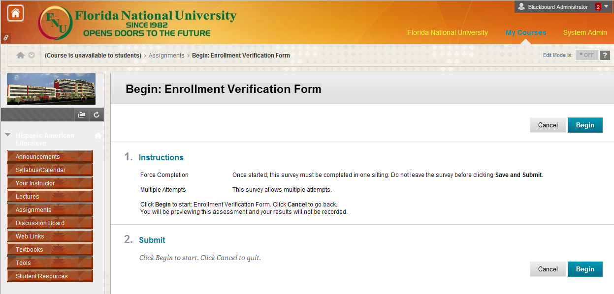 Enrollment Verification Form Once you click on the Enrollment Verification Form link you