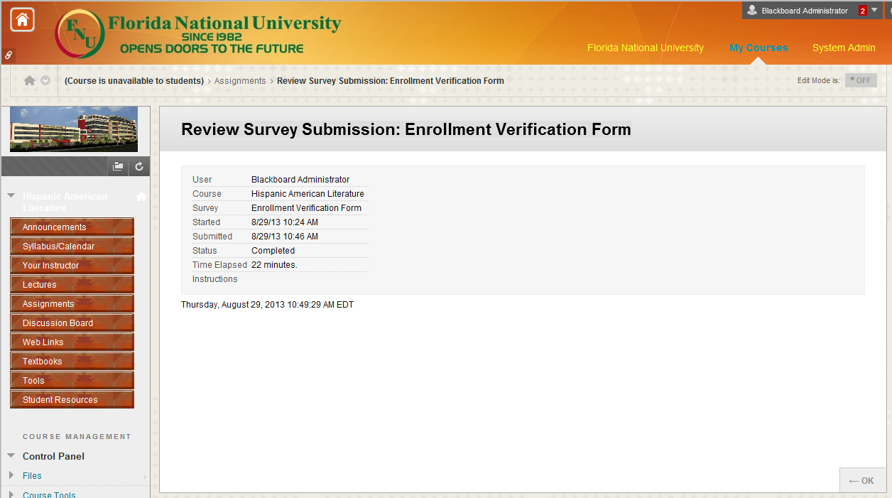 Enrollment Verification Form After you click OK another confirmation