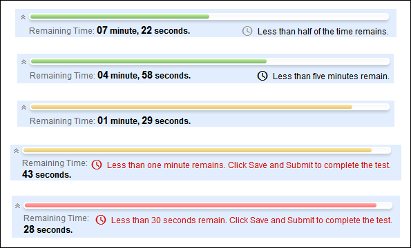 Taking a Test in Blackboard Timer warnings appear when half the time, five minutes, one minute, and thirty seconds remain.