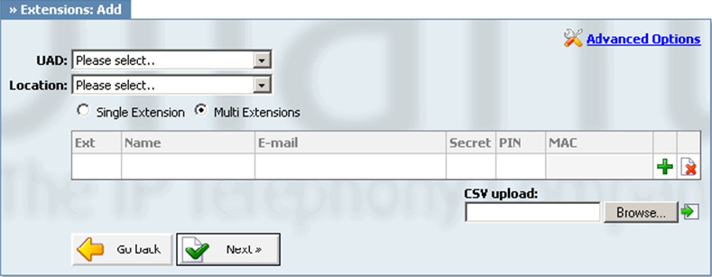 ADDING MULTIPLE EXTENSIONS Multiple extensions can be created by clicking on Advanced Options and providing all the extensions and the