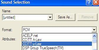 Step 5 Action Select CCITT u-law format to convert the file to be loaded. 6 To save the Format and Attribute settings for future use, click on Save As 7 Click OK.