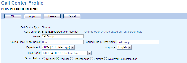 The Name Text Box you can change the name of the Call Center which will be displayed in various directory listings and the Call Center List.