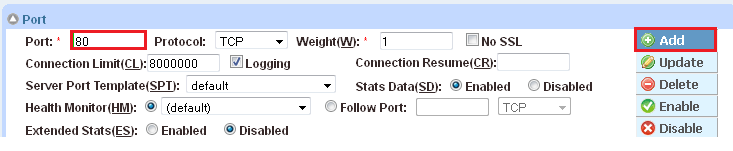 4. To add a port to the server configuration: a. Enter the port number in the Port field. b. Select the Protocol. c. Click Add. Figure 17: Server port configuration 5.