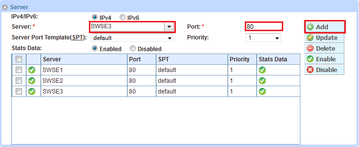 Figure 18: Service group configuration 4. In the Server section, add one or more servers from the Server drop-down list. For example, select server SWSE1, enter port 80, and click Add. 5.