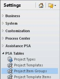 On the left hand side menu, click Project Item Groups Your project item groups should already exist; If they do, go