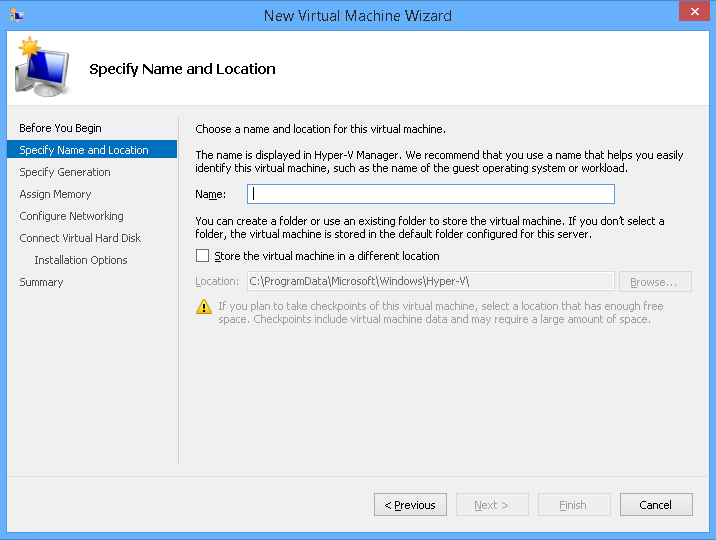 2. Launch the Hyper-V manager. Windows 8.1 HyperV manager is shown in the example. 3.