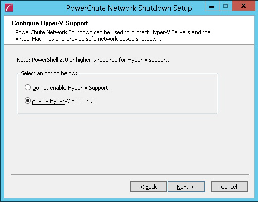 5. At the dialog below, choose Enable Hyper-V Support and your installation proceeds. 6.