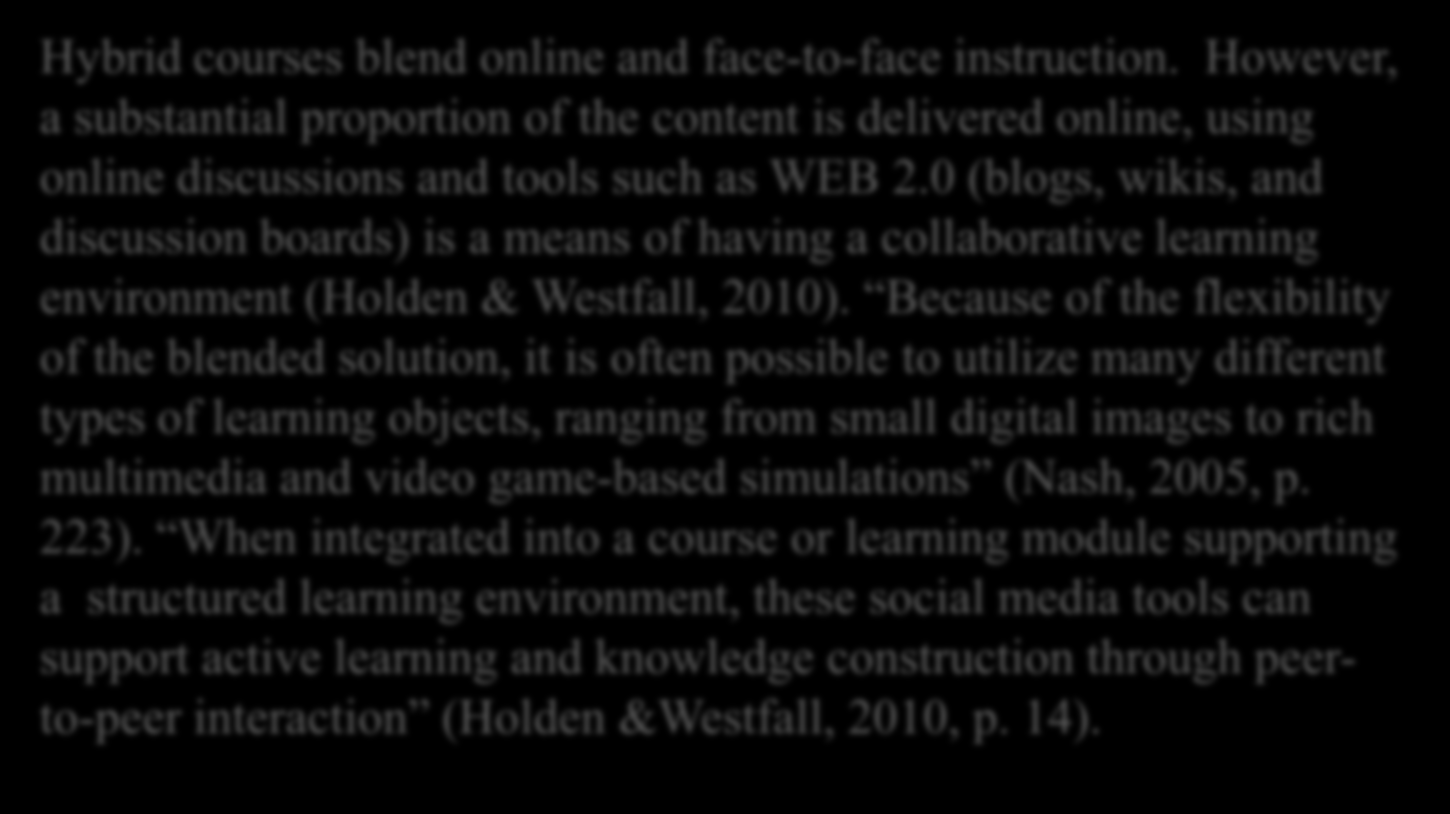 Blended/Hybrid Courses there between the learner and the facilitator? Identify 2-3 cons for each implementing Hybrid courses blend online and face-to-face instruction.
