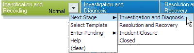 Advancing a Stage Once all of the initial details have been recorded in the ticket, move the Incident to the next stage: Click the button at the bottom of the Incident form.