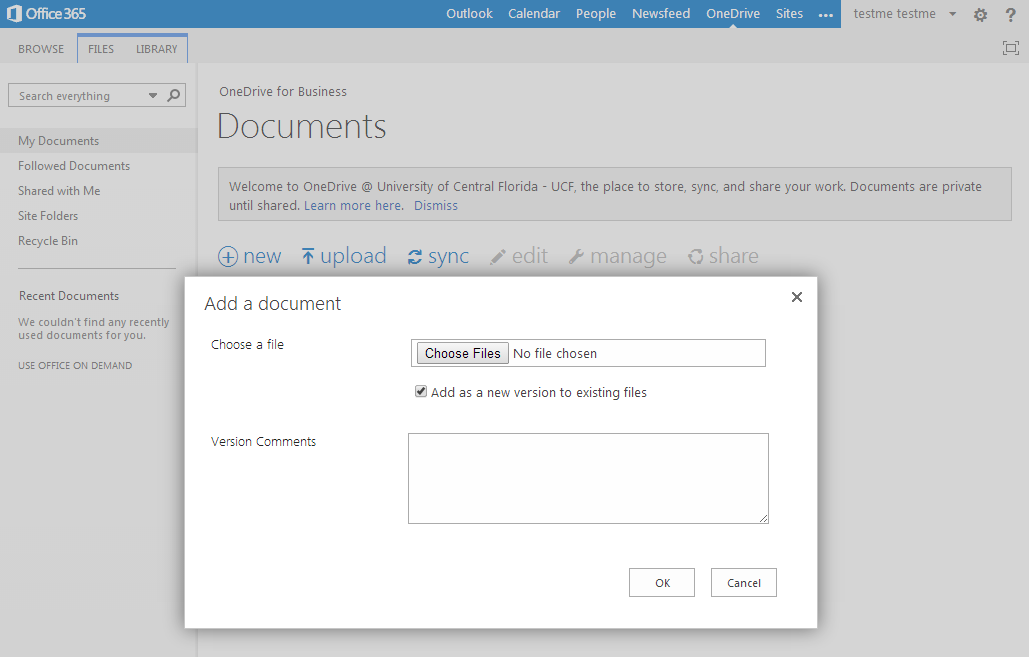10 Uploading Documents Select Upload to upload your file to OneDrive. Click Choose Files to search through your computer drive for documents you wish to store on OneDrive.