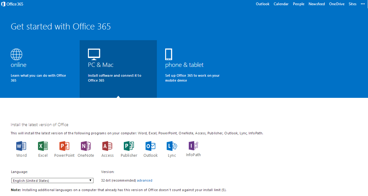 3 Under the Online tab, you can learn more about Office 365 and its features.