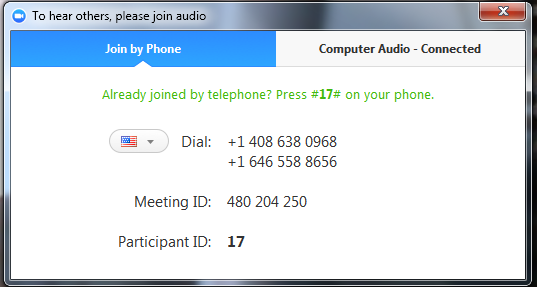 Meeting Options: Audio Options Join by Phone Tab When you click Audio Options you can access the following audio options by clicking either the Join by Phone or Computer Audio tabs.