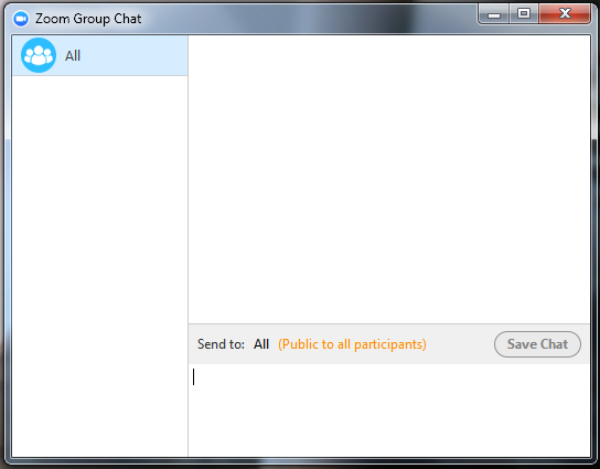 Meeting Options: Chat 1. Click Chat to send a group chat to a selected Group. 2. Select a Group from the left side of the screen. 3. Type in a message and press Enter.