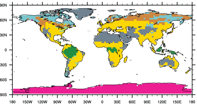 Landcover Differences Pliocene Present-Day