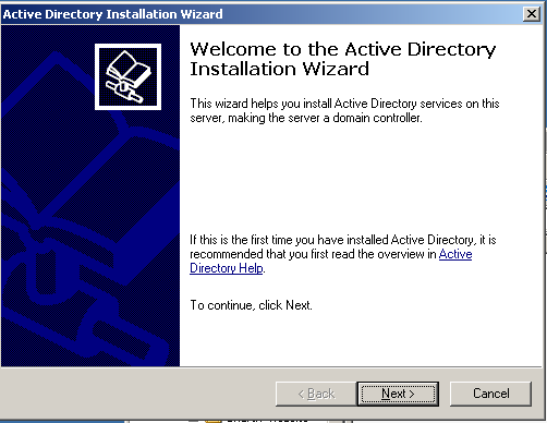 3. Click OK to start the Active Directory Installation Wizard, and then