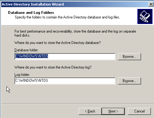 8. Set the database and log file location to the default