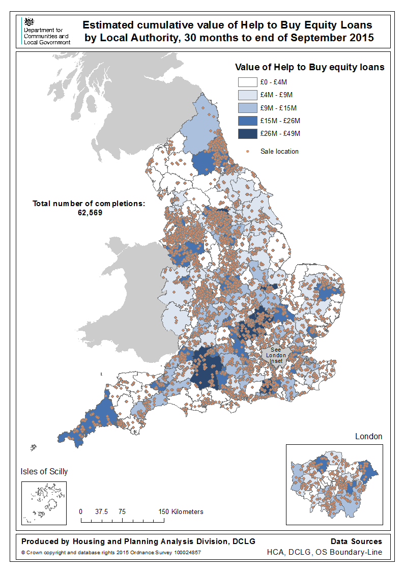 Sub-national trends Map 1: Total Value of Equity Loans and completions, by local authority area This map shows the location of sales under the Help to Buy: Equity Loan scheme to 30 September 2015,