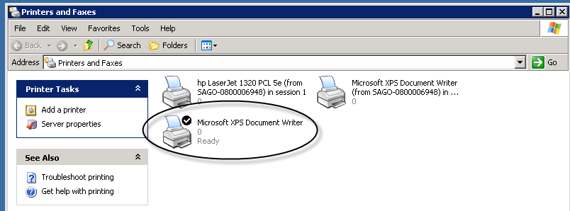 If you wish to use the XPS Document Writer as your default printer, right-click on the icon in the Printers and Faxes dialog box and select Set as