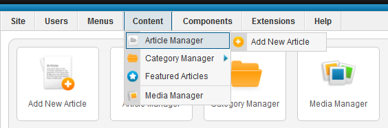Notice that you can access the Article Manager and the Menu Manager from the large icons on this screen.