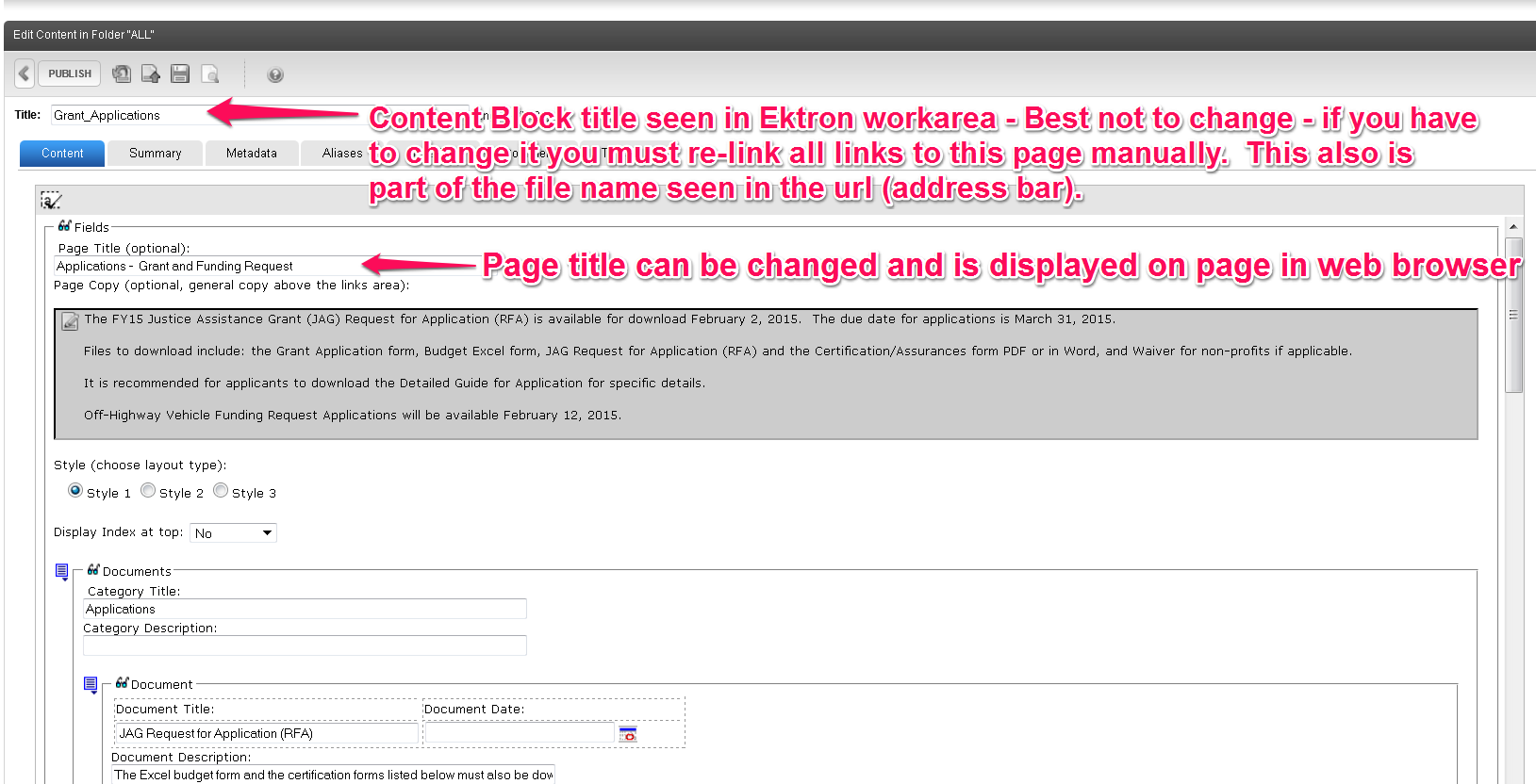 Difference between Content Block title and Page