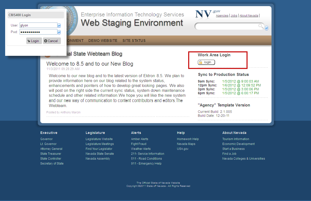 Logging In and Navigating to Your Website Folders Direct your browser to http://staging.nv.
