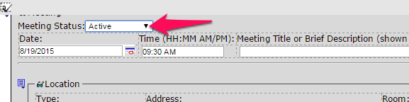 Editing Meeting Blocks To edit the Meeting date, click on the Meeting Calendar Icon and choose a new date. To edit meeting information click in a field and highlight the information and type over it.