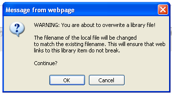 When the dialog box below appears, click the BROWSE button and then navigate and select the file you are using to overwrite the existing file, then click the UPDATE button.