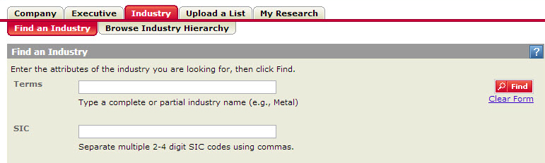 LexisNexis Industry Dossier Find an Industry The Find an Industry tab allows you to research and learn more about a specific industry.