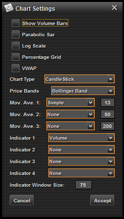 To adjust chart indicators, studies, and settings, click on the Settings button, and then click on Show Settings Tab.