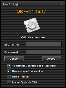 Logging On Double click on the StoxPit desktop icon on your computer s desktop. In the login window following Username, type in the Username that was sent to you via email.