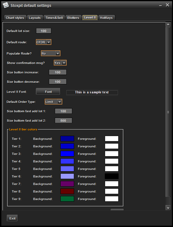 Blotters (Accounts) Configuration On the blotters (accounts) configuration window, users can adjust font size and color.