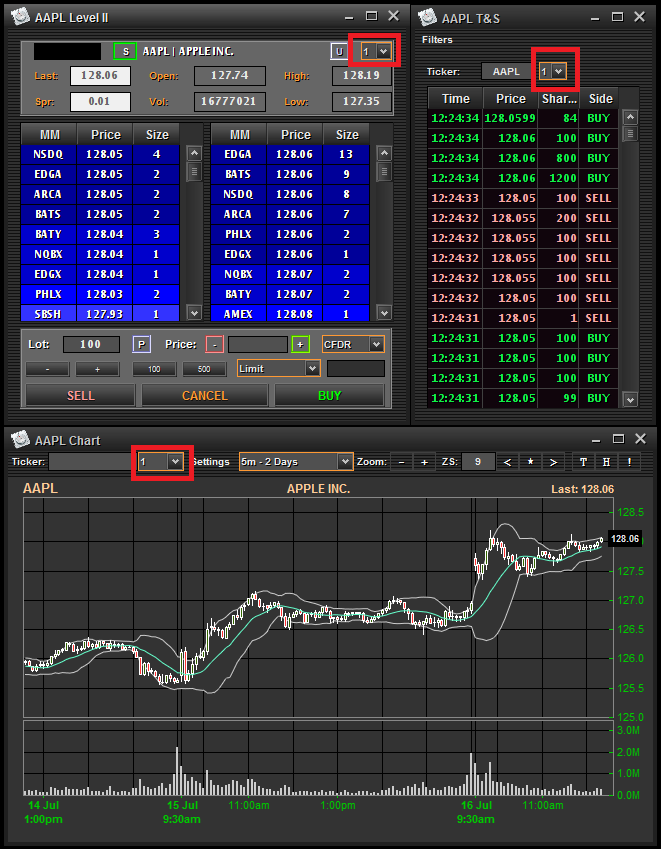Linking Windows The StoxPit platform gives users the ability to link all trading windows to the same ticker symbol.