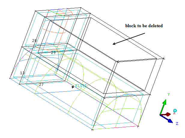 Figure 6: Block to be Deleted (b) Click middle-mouse button and Apply in the Delete Block DEZ. Step 4: Projecting the Edges to the Curves 1. Disable Surfaces.