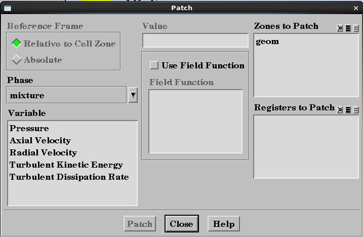 formation. 2.10. Solution Calculation Activities The patching window This pane allows the capture of solution animations and case/data files at regular time step intervals.