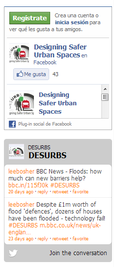 The Social Network Area : FRONT OFFICE: Tree Tool. On this area the latest comment made on the DESURBS Facebook account (Designing Safer Urban Spaces) and Twitter (@DESURBS) are displayed.