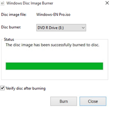1.2.4. Click [Close] when a disk is successfully created. 1.2.5.