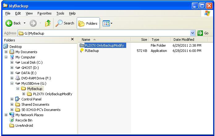 14. Notice that a new sub-folder PL2X7X OnlyBackupModify was created and here is where the backup files are stored.