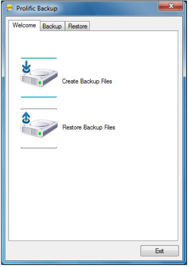3. The Backup menu folder consists of the Source Directories, the Destination
