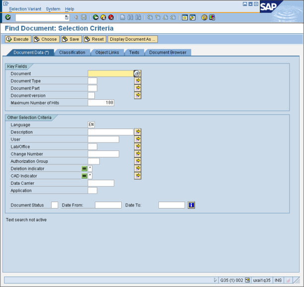 TREX based DMS search Transaction CV04N specific fast (using TREX