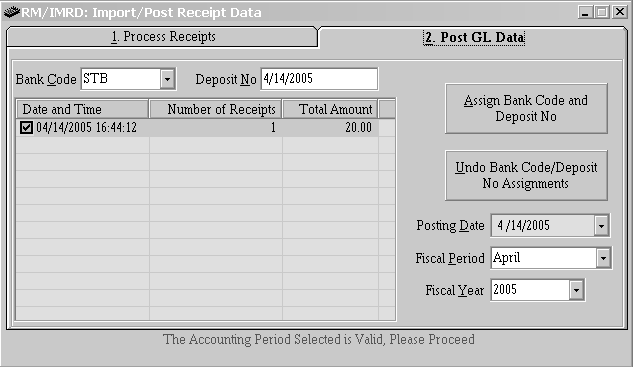 Post GL Data Bank Code - Select the Bank Code from the list where the deposit is/was made. Deposit No - Enter the deposit number or Date. The date of the deposit may be entered as the deposit number.