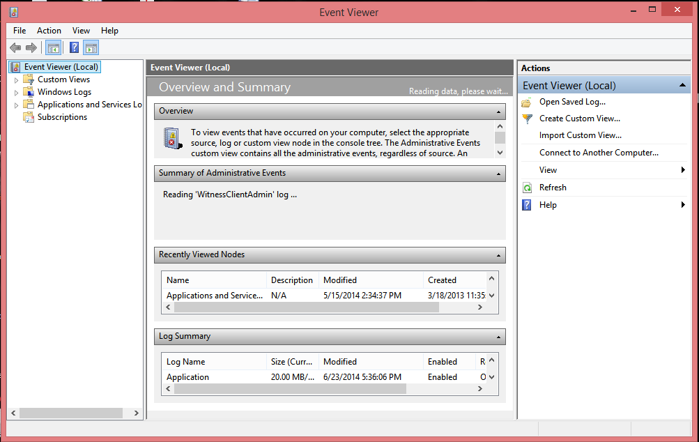 Using Event Viewer Event Viewer, shown in Figure below, enables you to view event logs that are created by the operating system.