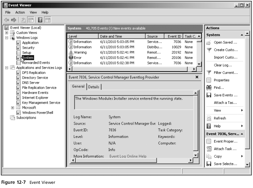 Hands-On Microsoft Windows Server 2008 3 Using and Configuring Event Viewer (continued) 1.