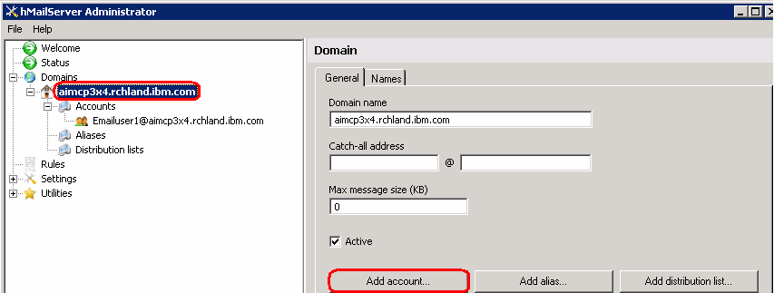 IBM WEBSPHERE ADAPTER 6.0.2 LAB EXERCISE IBM CONFIDENTIAL 7. Click Save at the bottom You will now see the account created under Domains > your domain > Accounts as shown below: 8.