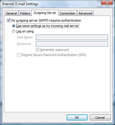 11. Click the Outgoing Server tab. Make sure that My outgoing server (SMTP) requires authentication is selected.