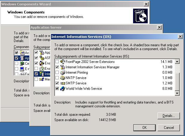 Step 2 install the SMTP service on the MOSS 2007 Server A) Add/Remove Programs, Windows Components, Application Server, IIS, SMTP