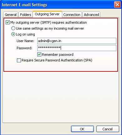Step 5: Advanced Settings 1. Click on Outgoing Server tab.