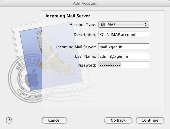 Step 2a: Enter Incoming Mail server details 1.