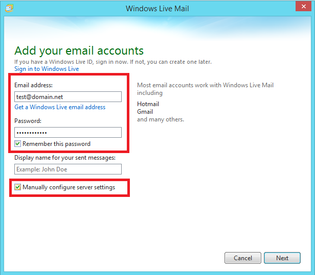 2. Enter your email address and the correct password. Put a check on Manually configure settings and click Next.